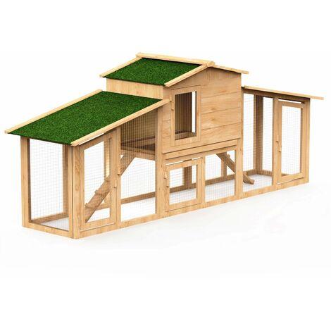 Poulailler en bois de pin canadien certifié 4 à 5 poules avec enclos rampes d'accès tiroir à déjections 2 niveaux