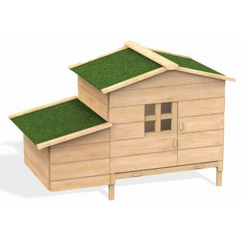 Poulailler en bois de pin canadien Serama 1 à 2 poules avec pondoir rampe d'accès tiroir à déjections