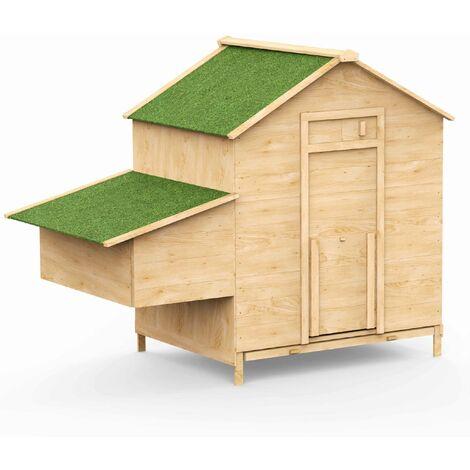 Poulailler en bois de pin canadien Soie 6 à 10 poules avec pondoir tiroir à déjection rampe d'accès porte d'accès avec loquet