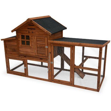 Poulailler en bois GELINE, 4 poules, cage à poule avec enclos