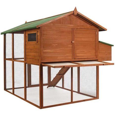 Poulailler en bois luxe : 2 niveaux avec pondoir Marron 200 cm