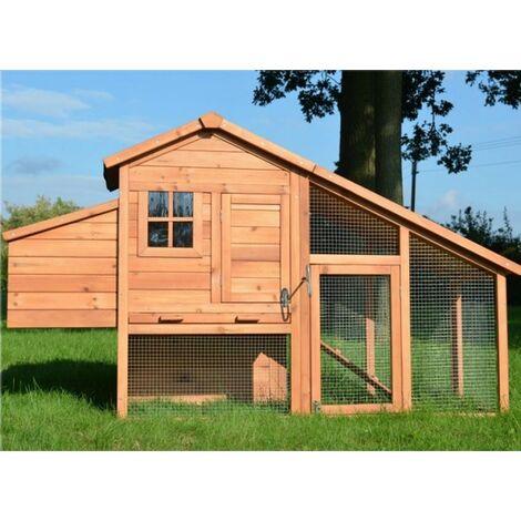 Poulailler en bois pour jardin extérieure 2/5 poules cage canard 2 perches 190x62x114 cm Modèle 144 Confort