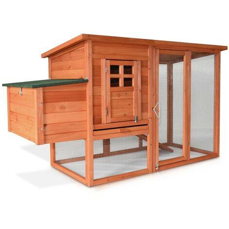 Poulailler en bois pour jardin extérieure 3/6 poules cage canard 2 perchoir 182x75x103 cm Modèle 131 XXL