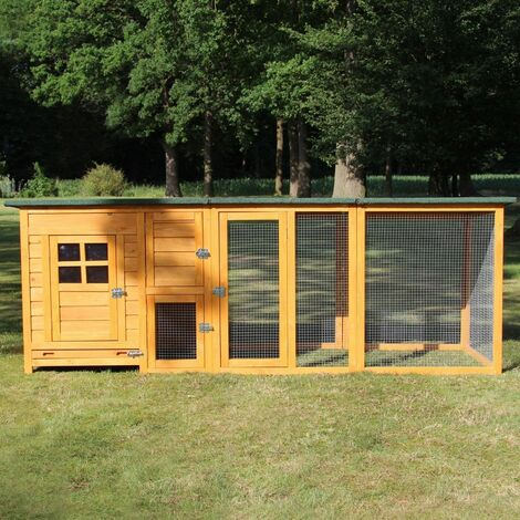 Poulailler en bois pour jardin extérieure 5 poules Cage Canard 2 perchoir Nichoir 215 x 80 x 68 cm-Modèle 147 FLEXI Extra