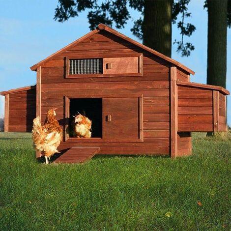 Poulailler en bois pour jardin exterieure 6 poules cage canard equipe 2 nichoirs 188 x 87 x 113 cm Modele 129 Ferme de terrain