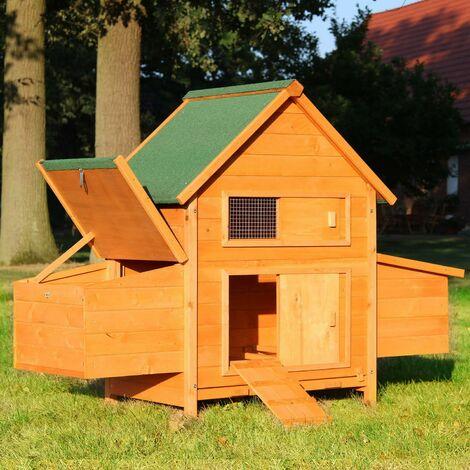 Poulailler en Bois pour Jardin extérieure Cage Canard avec Nichoir 143 x 49 x 93 cm Modèle: 156 Chicken