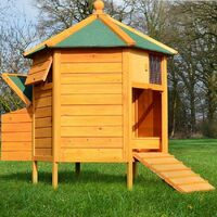 Poulailler Enclos en bois pour jardin extérieure diamètre : 125 cm Cage Canard 2 perchoir Nichoir Modèle : 128 Pavillon