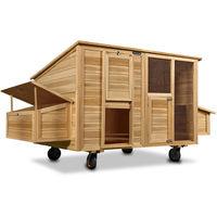 Poulailler mobile 220x125x118 bois avec roues pondoir nichoirs tiroir coulissant
