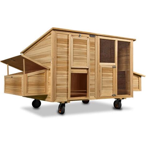 Poulailler mobile 220x125x118 bois avec roues pondoir nichoirs tiroir coulissant portes protection en bitume