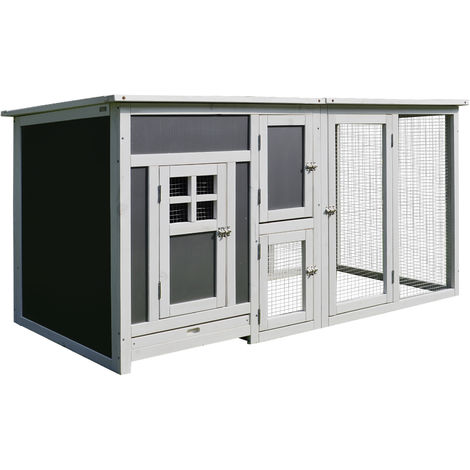 Poulailler multi-équipements niche toit ouvrant perchoir pondoir enclos tiroir à déjection 160L x 75l x 80H cm bois massif pin gris blanc