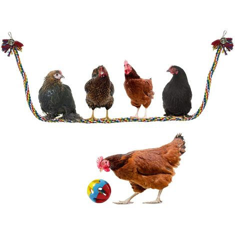Poulet balançoire grosse corde basse corde d'escalade à l'élastique avec jouet de boule de poulet, jouet d'oiseau perroquet, 59 pouces