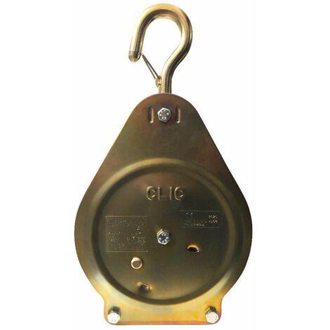 Poulie clic crochet avec linguet de sécurité C.M.U (max.) : 100 kg pour cordage D. 20 à 26 mm - D-Work