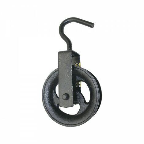 Poulie de puits noire 120mm