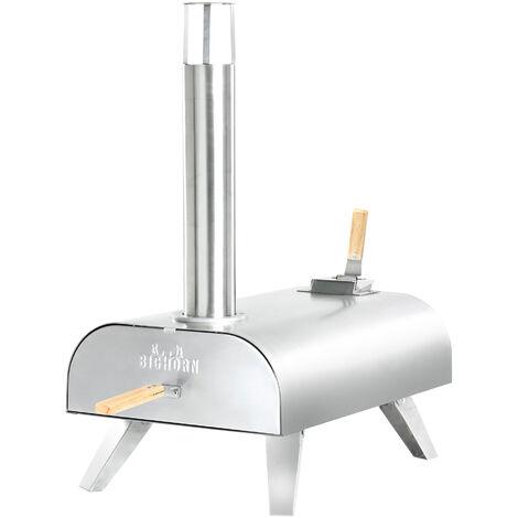 Pour à pizza portable à granulés de bois en acier inoxydable Four à pizza de table Bighorn avec pierre à pizza de 12 pouces ; pieds pliables - Acier inoxydable