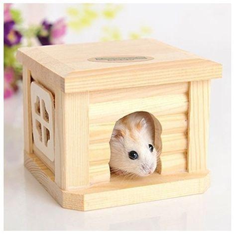 Pour le petit animal Hamster de lapin Cage en bois d'animal familier de cabane de toit de maison