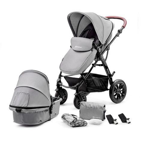 Poussette hamac 2en1 évolutif avec nacelle né/bébé/enfant | Dès la naissace | Avec habillage pluie/couvre-jambes/sac à langer | gris - gris