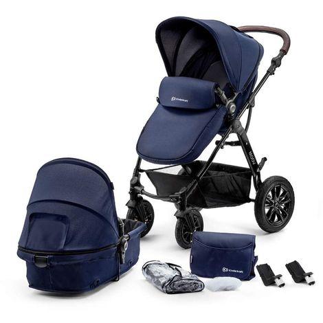 Poussette hamac 2en1 évolutif avec nacelle né/bébé/enfant | Dès la naissace | Avec habillage pluie/couvre-jambes/sac à langer | marine - marine