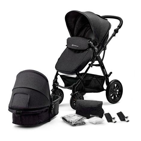 Poussette hamac 2en1 évolutif avec nacelle né/bébé/enfant | Dès la naissace | Avec habillage pluie/couvre-jambes/sac à langer | noir - noir