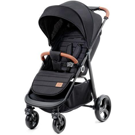 Poussette hamac/nacelle/canne 2en1 nouveau né/bébé/enfant | Dès la naissace | Fonction couchage | Couvre-jambes et habillage pluie | noir - noir