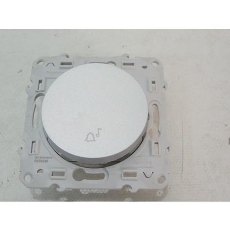 Poussoir 10AX 250V aluminium à fermeture symbole cloche sans plaque ODACE SCHNEIDER S530246