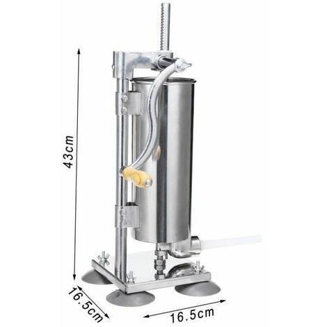 Poussoir à Saucisses Remplissage 4L INOX. + 4 Tubes Ventouses Machine à Viandes Lavement en acier Inoxydable