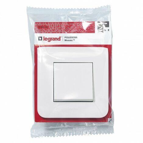 Poussoir avec plaque Mosaic - 6 A - Blanc - Legrand