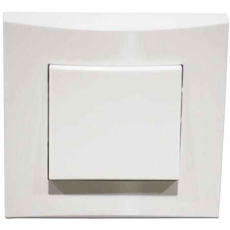 Poussoir blanc 10A O/F 250V encastré connexion auto fixation vis complet avec plaque de finition ALTERNATIVE ELEC AE52006-P