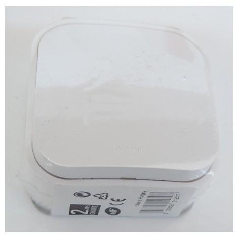 Poussoir blanc 6A en saillie complet avec cadre PROFIL ECO ARNOULD 54202