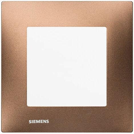 Poussoir Blanc Delta Viva + Plaque Métal Marron - SIEMENS