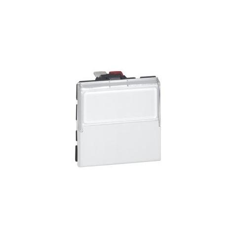 Poussoir inverseur Mosaic porte-étiq - 6A - 250V - 2 modules - Blanc - Legrand