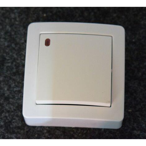 Poussoir Lumineux 10A blanc saillie complet avec cadre ALB62441P 250V néon faible conso ALREA SCHNEIDER ALB62052