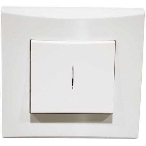 """main image of """"Poussoir lumineux blanc 10A O/F 250V encastré connexion auto fixation vis avec plaque de finition ALTERNATIVE ELEC AE52008-P"""""""