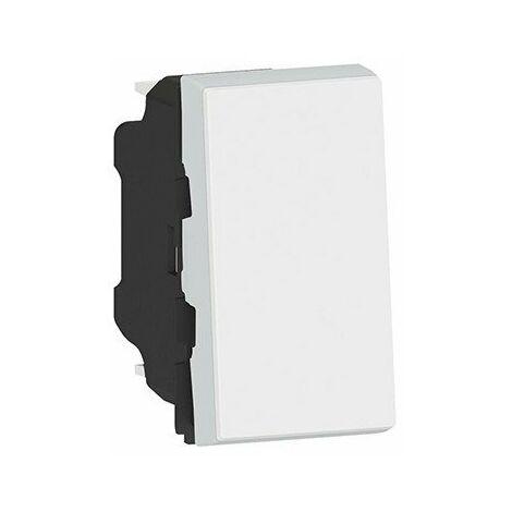 "main image of ""Poussoir Mosaic Easy-LED - 6 AX - 250 V - 1 module - Blanc antimicrobien"""