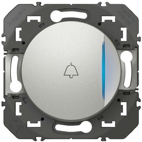 Poussoir simple avec voyant lumineux et marquage sonnette dooxie 6A 250V~ finition alu (600118)