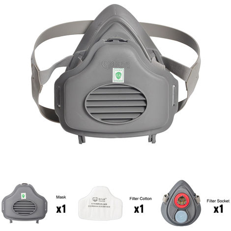POWECOM 3700 Dust Mask Particulate Respirator Half Face Mask with KN95 Filter Cotton Socket