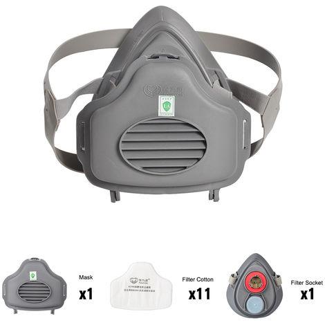 POWECOM, 3700 mascarilla contra el polvo, la mascara de media cara, con KN95 filtro de algodon zocalo, algodon 10pcs Filtrar