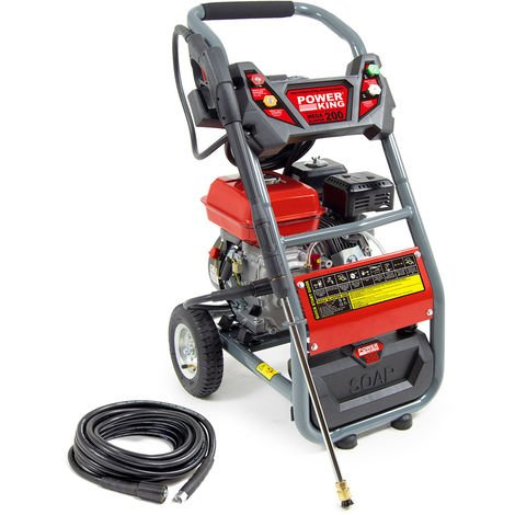 Power King Mega Blaster 200 Petrol Pressure Washer & 10m Extension Hose