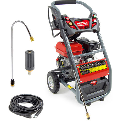 Power King Mega Blaster 200 Petrol Pressure Washer, Curved Lance, Turbo Nozzle & 10m Extension Hose