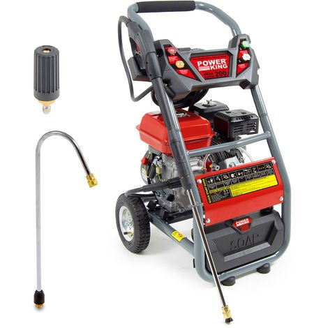 Power King Mega Blaster 200 Petrol Pressure Washer, Curved Lance & Turbo Nozzle