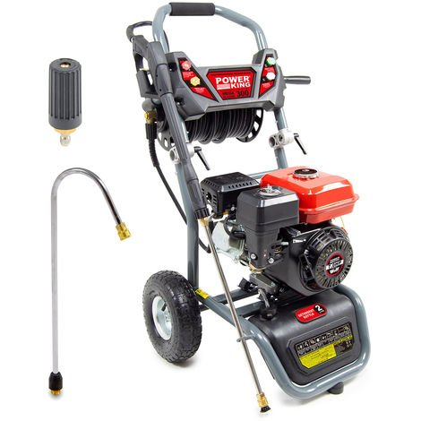 Power King Mega Blaster 300 Petrol Pressure Washer, Curved Lance & Turbo Nozzle