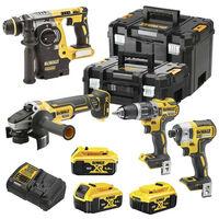 Power Kit Dewalt Martillo + Taladro + Amoladora + Atornillador Impacto a batería DCK422P3