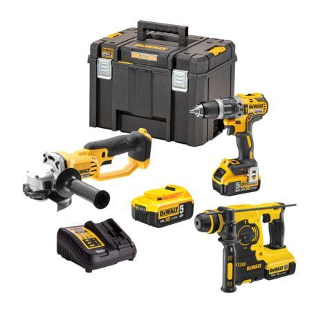 Power kit taladro percutor Dewalt CPROF265 con maletín, amoladora XR18V, martillo XR SDS plus y 3 baterias