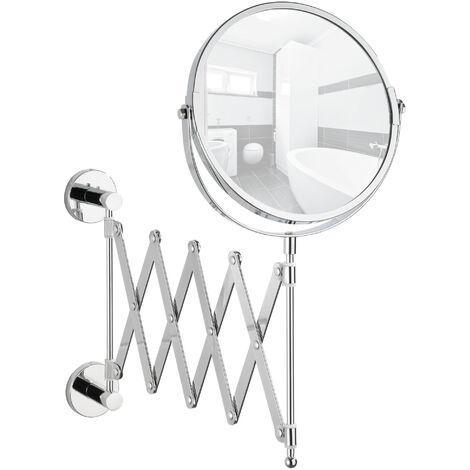 Power-Loc® miroir grossissant mural sans perçage, miroir grossissant x30, Ø15 cm, bras télescopique, Elegance WENKO