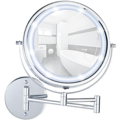 Power-Loc® miroir maquillage LED mural sans perçage, miroir grossissant x50, Ø 22 cm, Lumi WENKO