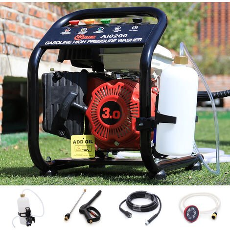Power Petrol Pressure Washer 110Bar Jet 3HP Engine Cleaner w/8m Hose Barrel Feed