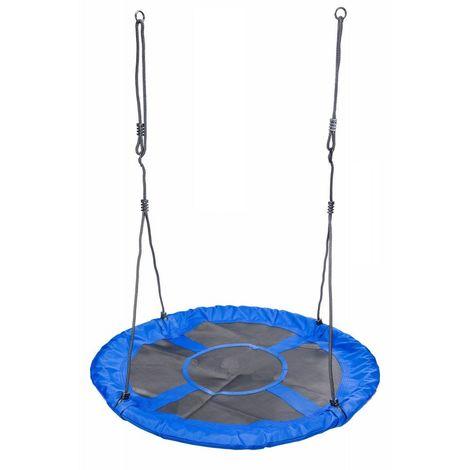 POWER TOOL - Balançoire nid d'oiseau rond à suspendre - Diamètre 110cm - Enfant Adulte charge maxi 150 kg - Jardin Extérieur - Bleu