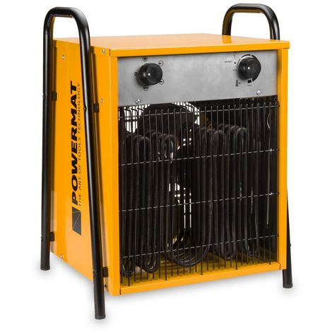 POWER TOOL - Chauffage d'atelier électrique - Puissance chauffe 7500W/15000W Débit d'air 1090m³/h - Soufflant chantier - Jaune