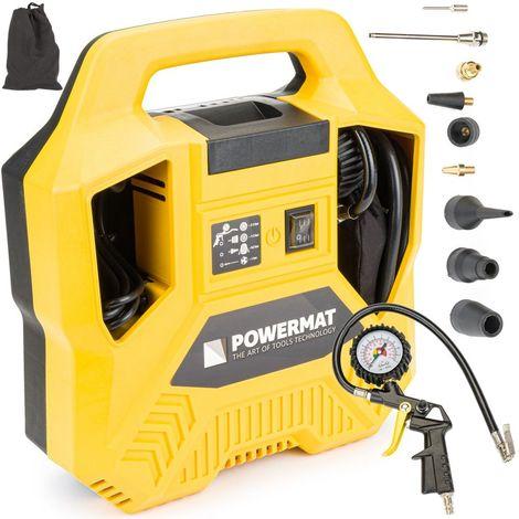POWER TOOL - Compresseur sans huile 1100 W - Pression maximale 8 bars (116 psi) - Efficacité d'aspiration 180 l/min - Garage/atelier - Jaune