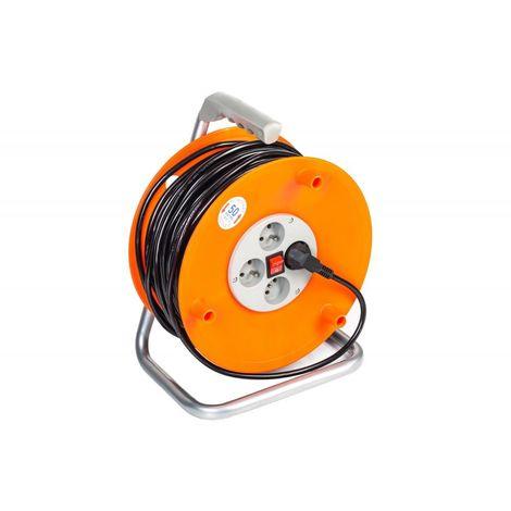 POWER TOOL | Enrouleur de câble avec câble électrique Longueur 50m | 4 prises | Enrouleur électrique atelier chantier - Orange