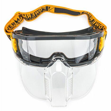 POWER TOOL - Lunettes de protection anti-éclats avec masque - Monture en PVC/nylon - Verre panoramique - Ajustables - Gris